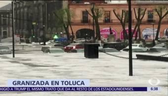 Granizada sorprende a la ciudad de Toluca