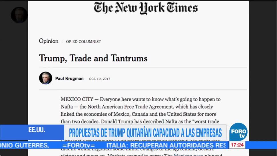 Krugman Terminar Tlcan Terrible México Eu Premio Nobel De Economía
