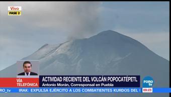 Actividad reciente del volcán Popocatépetl