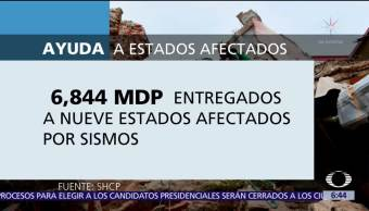 Se han entregado 6,844 mdp para atender entidades afectadas tras sismos