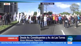Manifestantes bloquean avenida Constituyentes, CDMX
