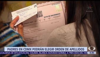 Padres de niños nacidos en CDMX pueden elegir orden de apellidos