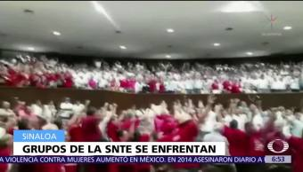 Se enfrentan grupos del SNTE en el Congreso de Sinaloa