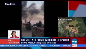 Se registra incendio en parque industrial de Tizayuca