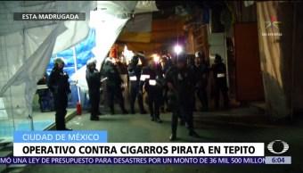 Realizan operativo contra cigarros pirata en Tepito