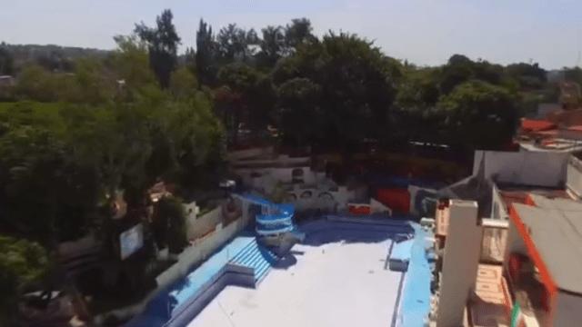 Albercas vacías del balneario 'Agua Hedionda' en Cuautla, Morelos