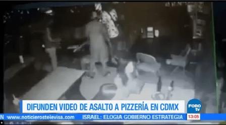 Difunden Video Asalto Pizzería Cdmx