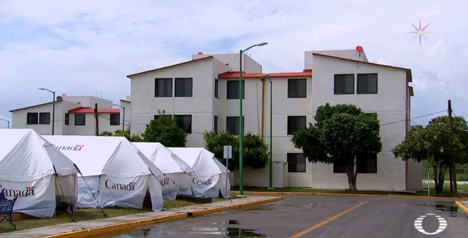 Familias de soldados viven en casas de campaña tras resultar afectados por sismo del 7 de septiembre