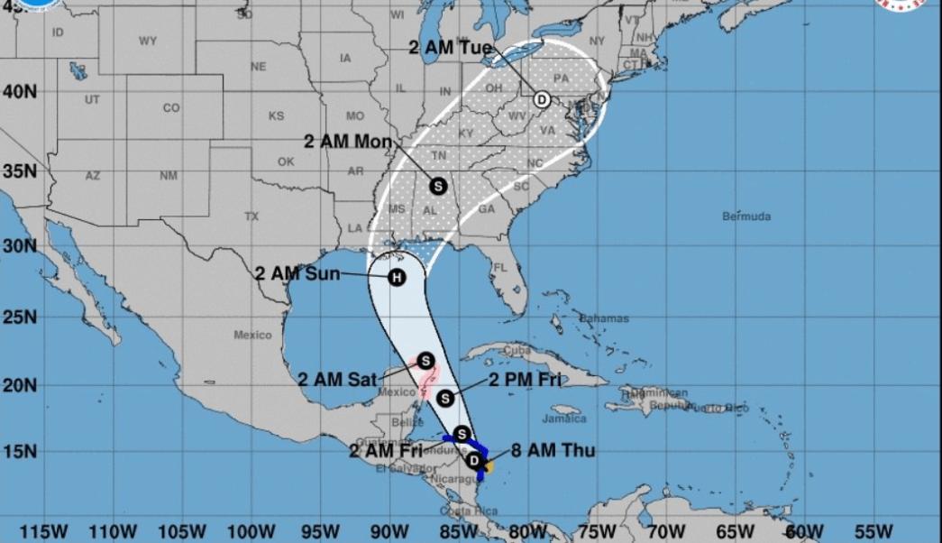 Gráfico que muestra la trayectoria de la tormenta tropical Nate