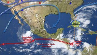 mapa con el pronistico del clima para este 5 de octubre