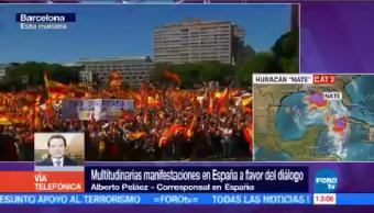 Miles Manifiestan Pedir Solución Conflicto Catalán