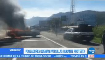 Pobladores Queman Patrullas Durante Protesta Veracruz