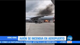 Incendia Avión Aeropuerto Hong Kong Autoridades Niponas