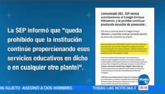 Sep Revoca Autorizaciones Operar Colegio Enrique Rébsamen