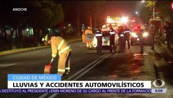Lluvias provocan accidentes automovilísticos en la CDMX
