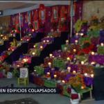 Colocan ofrendas en edificios colapsados de la CDMX