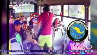 Captan en video asalto a transporte público en Tlalnepantla, Edomex