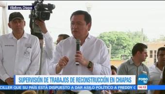 Osorio Chong supervisa trabajos de reconstrucción en Chiapas