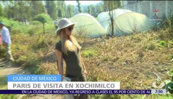 Paris Hilton visita albergue en San Gregorio Xochimilco, CDMX