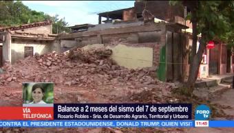 Rosario Robles, titular de Sedatu, afirma que tras sismos, inició la reconstrucción