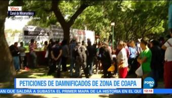 Damnificados del sismo 19S en Coapa exigen apoyo de autoridades