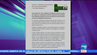 México manifiesta enérgica condena por ejecución de Rubén Cárdenas