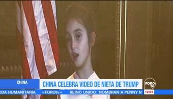 Nieta de Trump se pone a cantar y recitar en mandarín