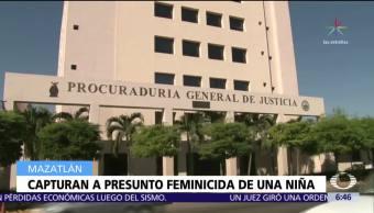 Detienen en Mazatlán al presunto a de una niña de tres años