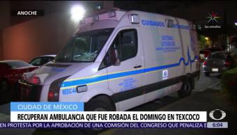 Recuperan ambulancia que fue robada el domingo en Texcoco