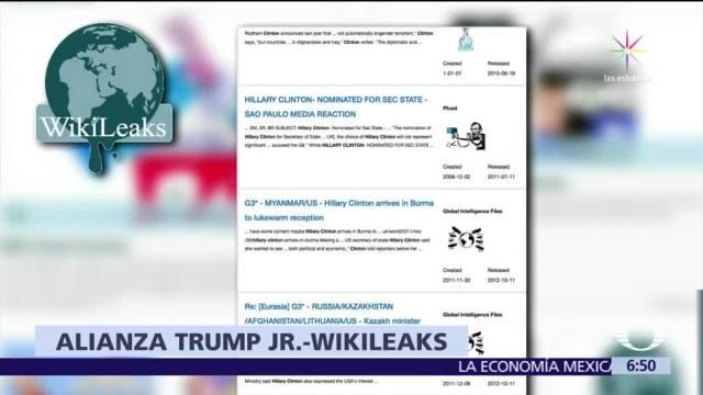 Donald Trump Jr. sostuvo comunicación con Wikileaks durante la campaña
