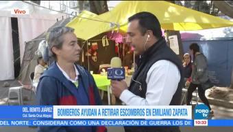 Vecinos del condominio de Emiliano Zapata 252 solicitan que bomberos retiren escombros
