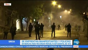 Se enfrentan manifestantes y policías en Atenas