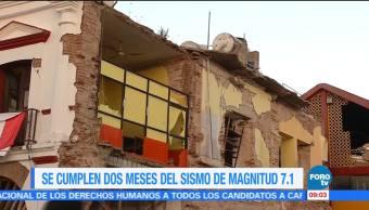 Se cumplen dos meses del sismo de magnitud 7.1