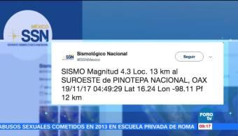 Sismológico Nacional reporta varios sismos en Guerrero y Oaxaca