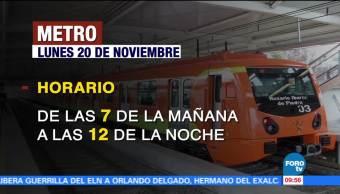 Horarios en el transporte público de la CDMX este 20 de noviembre