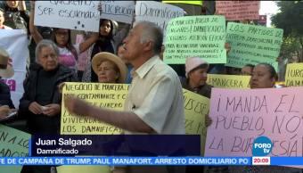 Damnificados por sismo protestan en la ALDF