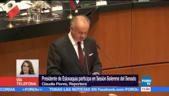 Senado recibe al presidente de Eslovaquia en sesión solemne