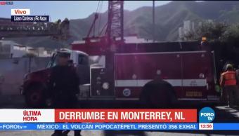 Se registra derrumbe en zona de construcción de estacionamiento en Monterrey