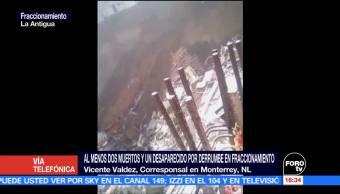 Suman dos muertos por derrumbe en fraccionamiento en Monterrey
