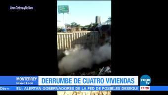 Captan momento de derrumbe en Monterrey
