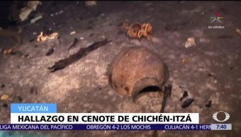 Descubren ofrenda mortuoria en cenote de Chichen Itzá