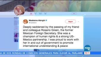Madeleine Albright expresa sus condolencias por la muerte de Rosario Green