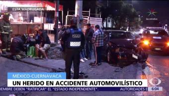 Accidente automovilístico en la México-Cuernavaca deja tres heridos