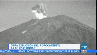 Volcán Popocatépetl continúa con actividad explosiva