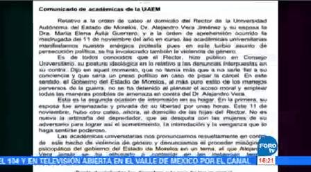 Académicas Morelos Denuncian Persecución Contra Rector