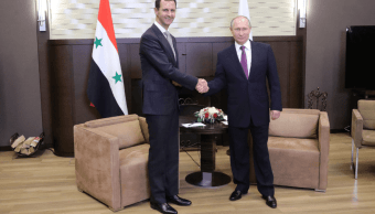 Bashar al Assad y Vladimir Putin en Sochi, Rusia