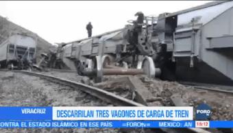 Descarrilan Tres Vagones Carga Tren Veracruz