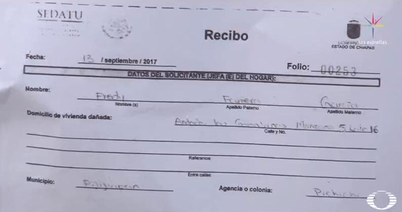 Folio que Sedatu otorgó a damnificados del sismo del 7 de septiembre
