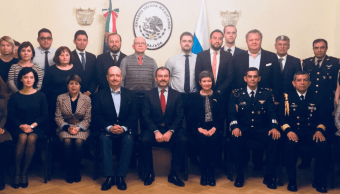 El canciller Luis Videgaray en la embajada de México en Moscú