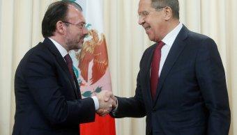Luis Videgaray saluda a Serguéi Lavrov, Rusia no intervendrá en elecciones de México